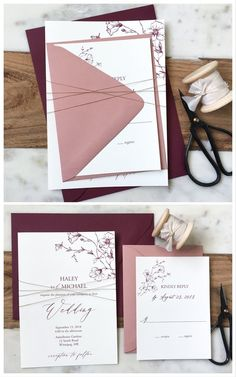 Botanical, Blush Pink and Burgundy – wedding Burgundy Wedding Invitations, Beautiful Wedding Invitations, Wedding Stationary, Invitation Kits, Wedding Invitation Wording, Invitation Design, Dusty Rose Wedding, Pink And Burgundy Wedding, Wedding Save The Dates