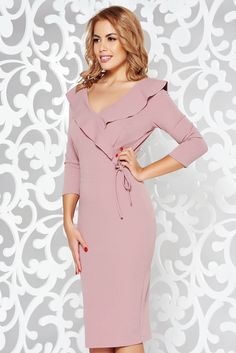StarShinerS rosa elegant pencil dress from elastic fabric with v-neckline What Should I Wear Today, October 19, 3d Prints, Product Label, Double Knitting, Pencil Dress, Elegant Dresses, Ruffles