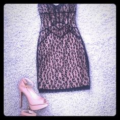 Bebe Cocktail dress Bebe Cocktail dress - can be worn with halter strap or strap removed. Leopard lace print with tan lining. VERY SEXY! bebe Dresses Strapless