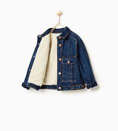 Image 2 of Fleece-lined denim jacket from Zara
