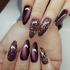 - 50 sultry burgundy nail ideas to bring out your inner sexy - www. – 50 sultry burgundy nail ideas to bring out your inner sexy www. – 50 sultry burgundy nail ideas to bring out your inner sexy Fall Acrylic Nails, Glitter Nail Art, Acrylic Nail Designs, Nail Art Designs, Nails Design, Glitter Nail Designs, Glitter Hair, Pink Glitter, Glam Nails