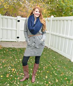 striped dress with sweater, leggins and boots