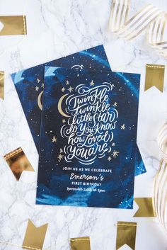 Modern First Birthday Party Invitations | First birthday party ideas, twinkle twinkle little star party and more from /cydconverse/
