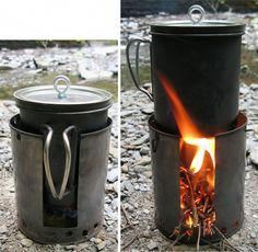alcohol-and-wood-combined. DIY Fancy Feast and twig stove hybrid. Camping Survival, Survival Kit, Survival Hacks, Survival Stuff, Bushcraft, Outdoor Camping, Outdoor Gear, Camping Table, Camping Chairs