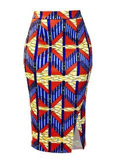 Hasana African Print Pencil Scuba Midi Skirt (Orange Steps) by corinne African Pencil Skirt, African Print Skirt, African Print Clothing, African Print Dresses, African Print Fashion, Africa Fashion, Short African Dresses, Latest African Fashion Dresses, Jw Moda