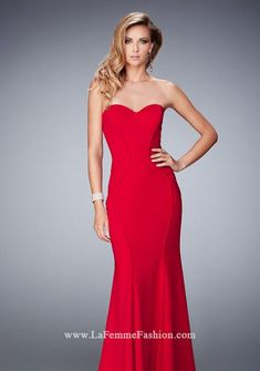 40f4dd12fea La Femme 22401 Captivating jersey gown with flattering piping lines  throughout. Gown features a sweetheart neckline and back zipper closure.