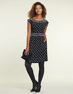 Spot Panel Dress 16RC  PD459 £59.00  A monochrome polka dot never loses its style, and this pretty best-selling style can be dressed up and down easily; the contrasting panel drawing attention to your waist. Outer and lining 100% viscose Machine washable Length 93.5cm | Length finishes above the knee