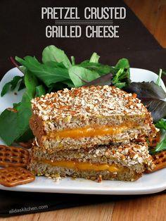 Pretzel Crusted Grilled Cheese | alidaskitchen.com