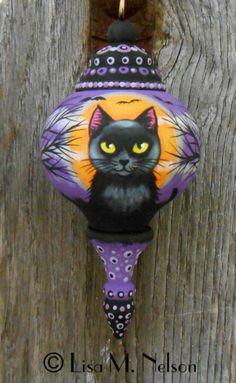 Original Halloween Painting Folk Art Ornament by CharonsPoppets, $38.00