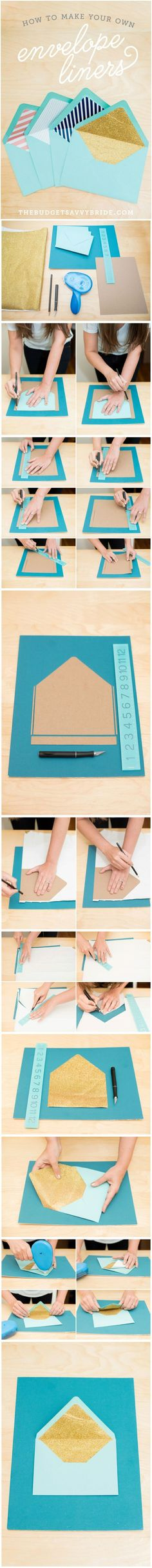 DIY envelope liners   we ❤ this!  moncheribridals.com  #weddinginvitations #DIYweddinginvitations #envelopeliners