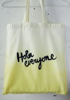 Yellow Handmade Dip Dye and lettered Cotton Bag - Hola everyone. $37.61, via Etsy.