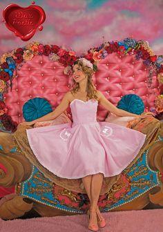 Wax Poetic Clothing Pink Seersucker Sabrina pinup swing dress L made in the USA #WaxPoeticClothing #Swingdress #Formal