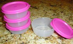 Tupperware 2oz Mini Snack Cups Midget Bowl 4pc Set New Pink