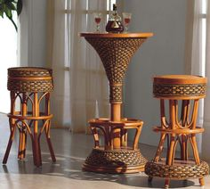 indoor wicker furniture mini bar table and chairs
