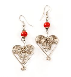 Wire Wrapped Heart Earrings - Jewelry Handmade in Africa - Swahili Modern Heart Earrings, Silver Earrings, Drop Earrings, Jewelry Accessories, Fashion Accessories, Jewelry Design, Handmade Necklaces, Handmade Jewelry, Valentine Day Gifts