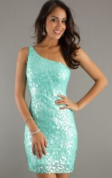 One Shoulder Short/Mini Natural Sequins Homecoming Dress With Sequin HD2D0F