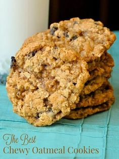 The Best Chewy Oatmeal Cookies - a real old fashioned recipe that has crispy edges and a softer chewier center. The secret here is not to over bake them or they will become brittle. A little underbaked is actually preferred.