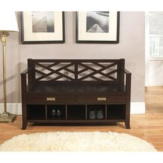 @Overstock.com - Lancaster Espresso Brown Entryway Storage Bench with Drawers