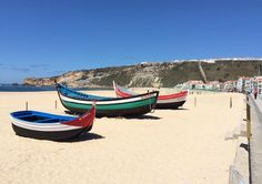 olorful sardine boats were spotted in the village of Nazare, Portugal.