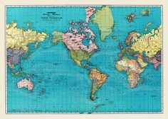World Map of the Ocean Currents Full Color 1893 by TheMapShop, $12.95