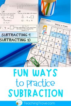 Teaching a range of subtraction strategies is important if we want our first grade and second grade students to have mastery over the subtraction facts to 20. Use flip books, activities and games to teach kids to subtract using the mental math strategies for subtraction. #subtractionstrategies #subtractionfacts