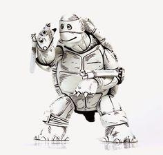 "Black & White Edition ""The First Turtle"" Teenage Mutant Ninja Turtles Vinyl Figure by Kevin Eastman & Mondo"