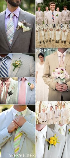 Preppy groom and groomsmen looks including seersucker, khaki, plaid, striped and polka dot ties  Love the second suit with the blue and white tie!