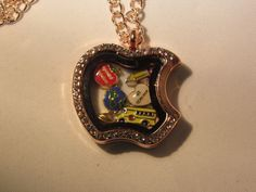 Special and Number one Teacher Floating Apple Locket Necklace by JRCsJEWELRY on Etsy