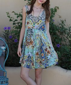 Angie Apparel Mint Paisley Scoop Neck Shift Dress | zulily