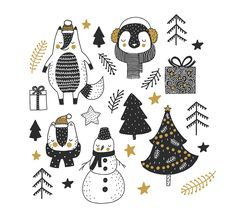 Christmas gift winter vector set by Maria Sem on Creative Market Christmas gift winter vector set by Maria Sem on Creative Market Diy Christmas Presents, Christmas Gift Bags, Winter Christmas, Vintage Christmas, Christmas Crafts, Christmas Ideas, Christmas Tree, Christmas Doodles, Christmas Drawing