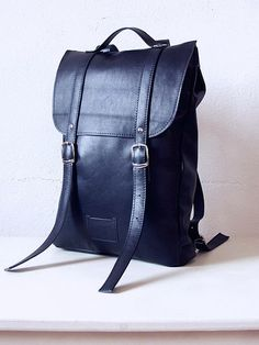 Navy middle size leather backpack rucksack / To order by kokosina