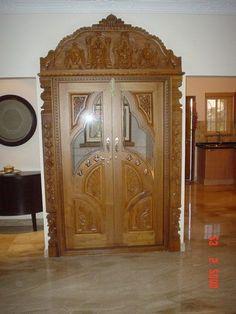 Surya Palagai Design for Main Door Single Main Door Designs, House Main Door Design, Home Door Design, Pooja Room Door Design, Wooden Window Design, Front Door Design Wood, Double Door Design, Living Room Partition Design, Room Partition Designs