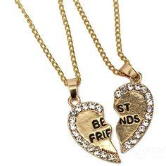 Rhinestone Broken Heart Double Parts Best Friend Pendant Necklaces at Banggood