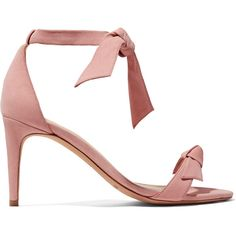 Alexandre Birman Clarita bow-embellished suede sandals (31,160 PHP) ❤ liked on Polyvore featuring shoes, sandals, heels, baby pink, suede leather shoes, alexandre birman shoes, bow tie sandals, suede sandals and high heel shoes