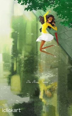 #rainyday #image #illust #rain #woman #dance #iclickart #npine