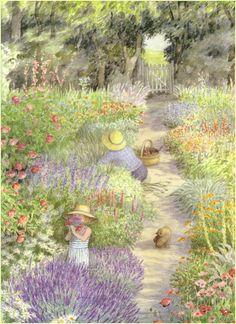 Raindrops and Roses Garden Painting, Garden Art, Fields In Arts, Raindrops And Roses, Parcs, Illustrations And Posters, Children's Book Illustration, Artist Art, Beautiful Artwork