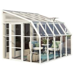 Bring the outdoors indoors with the Sun Room 2 from Palram. Turn your existing porch, deck, or patio into a sunroom enclosure or a greenhouse space. Unique construction provides UV protection, yet allows for air circulation. Sunroom Kits, Small Sunroom, Sunroom Ideas, Small Patio, Acrylic Wall Panels, Magazine Deco, Yard Care, Roof Panels, Shed Plans