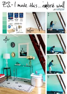ombre wall: paint entire wall with light color to start, then paint dark on bottom, mix dark & medium colors for next level, medium color alone for next level and blend wih light for top. Use dry brush for blending each level as you go.