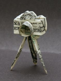 """A money origami camera on a stand"" by Taro YAGUCHI, Japan"