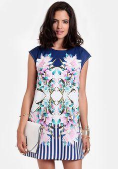 Bangkok Printed Shift Dress 40.00 at threadsence.com