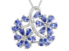 3.61ctw Pear Shape Tanzanite And .04ctw Round White Topaz Sterling Sil