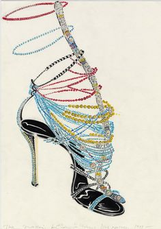 Manolo Blahnik sketch for Dior Haute Couture by John Galliano (1997)