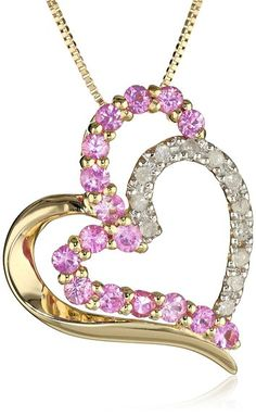 "10k Yellow Gold Pink Sapphire and Diamond Heart Pendant Necklace, 18""- http://www.amazon.com/dp/B004L2L0RA/?tag=shops0d-20"