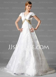 Wedding Dresses - $241.99 - A-Line/Princess Square Neckline Chapel Train Satin Lace Wedding Dress With Lace Sashes Crystal Brooch (002000125) http://jjshouse.com/A-Line-Princess-Square-Neckline-Chapel-Train-Satin-Lace-Wedding-Dress-With-Lace-Sashes-Crystal-Brooch-002000125-g125