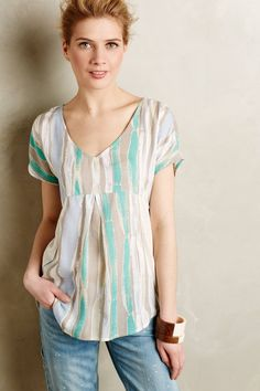 Elva Plissiertes T-Shirt - anthropologie.eu