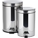 Stainless Steel Step-On 1.3-Gallon and .8-Gallon Trash Cans