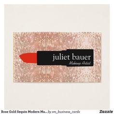 Rose Gold Sequin Modern Makeup Artist Lipstick Business Card Lipstick logo on digital image of sparkly gold sequin background