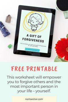 This free worksheet will start your path of forgiveness for self and others. It is filled with prompts to guide you on your journey to forgiveness. Forgiving Yourself, Positive Life, Best Self, Self Development, Prompts, Forgiveness, Mindset, Worksheets, Free Printables