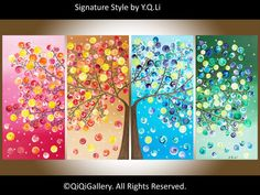 Large Abstract Painting acrylic Impasto landscape Painting four seasons Canvas Tree Painting by qiqigallery via Etsy