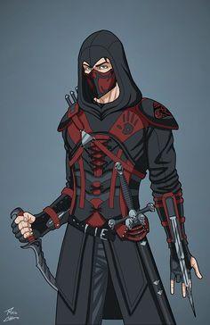 dark brotherhood x assassins creed OC Commission_phil-cho Fantasy Character Design, Character Design Inspiration, Character Concept, Character Art, Dark Brotherhood, Arte Ninja, Ninja Art, Superhero Characters, Fantasy Characters
